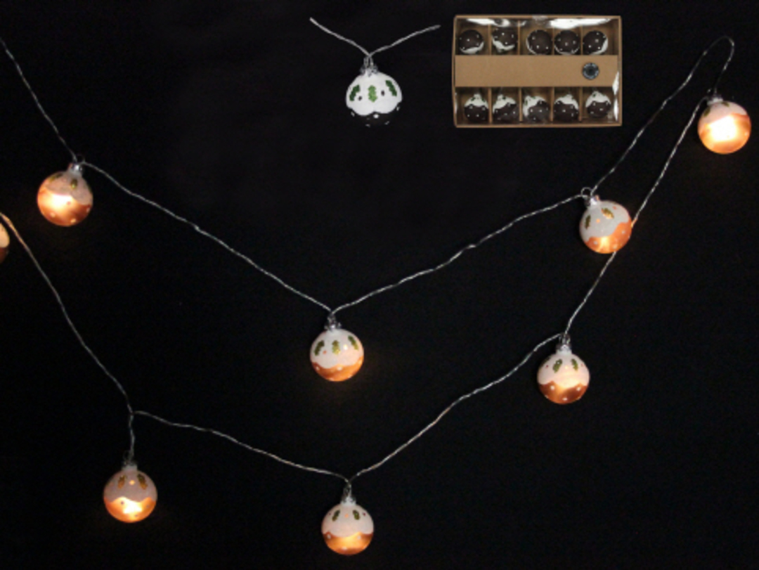 Glass Xmas Pudding LED Lights 1.8 mtr image 0