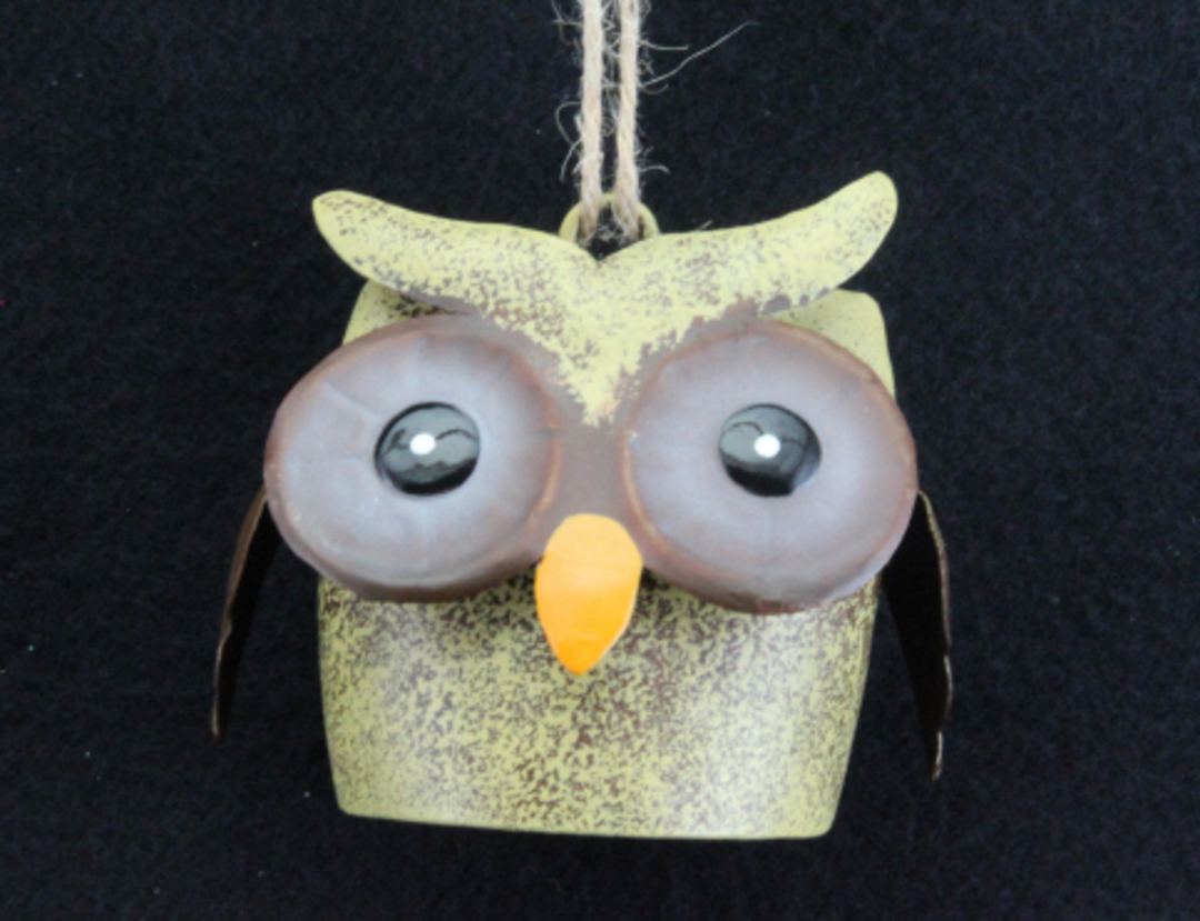 Tin Owl Cow Bell 6cm image 0