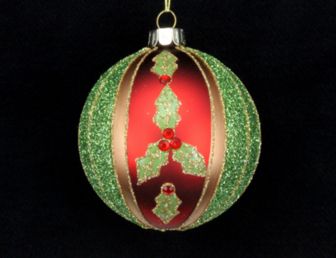 Glass Ball Red, Gold & Green Stripe with Holly 8cm image 0