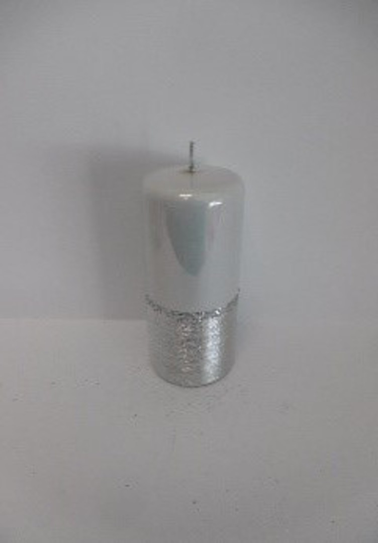 Pillar Candle 150x70mm Metallic White with Brushed Silver Band image 0