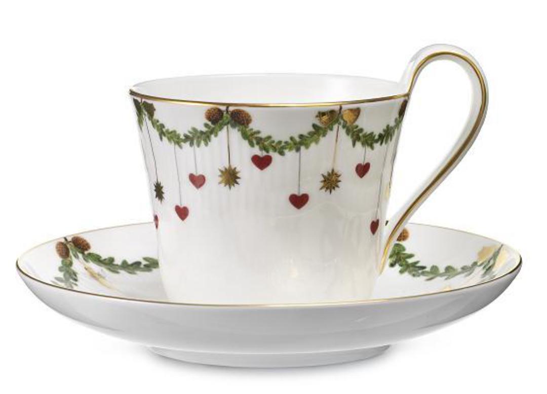 StarFluted Christmas Cup & Saucer image 0