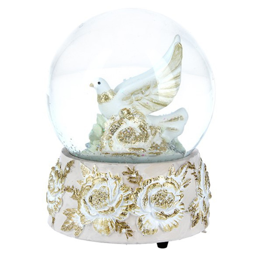 Musical Snow Globe, Cream and Gold Doves image 0