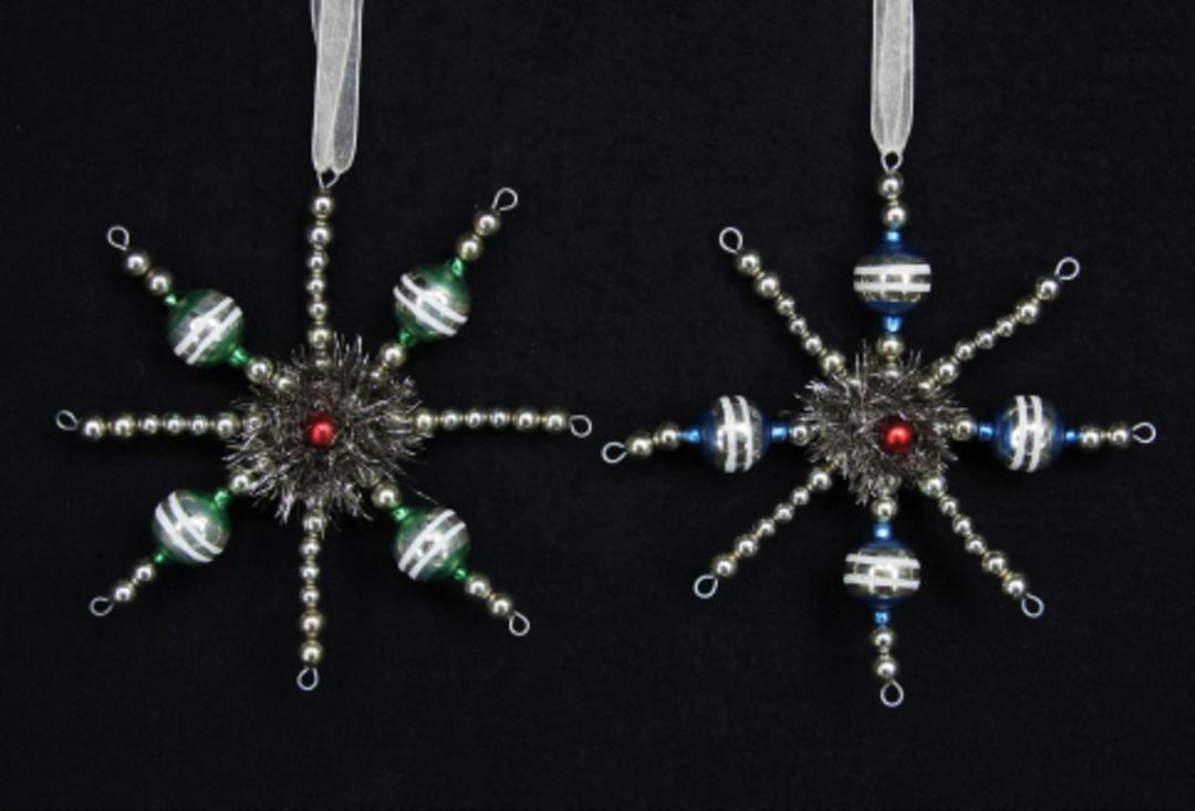 Antique Glass Bead Snowflake 15cm image 0