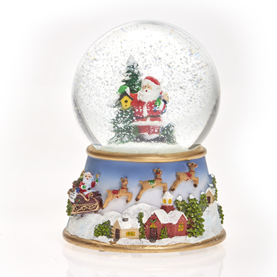 Musical LED SnowGlobe, Santa with Tree & Birdhouse image 0