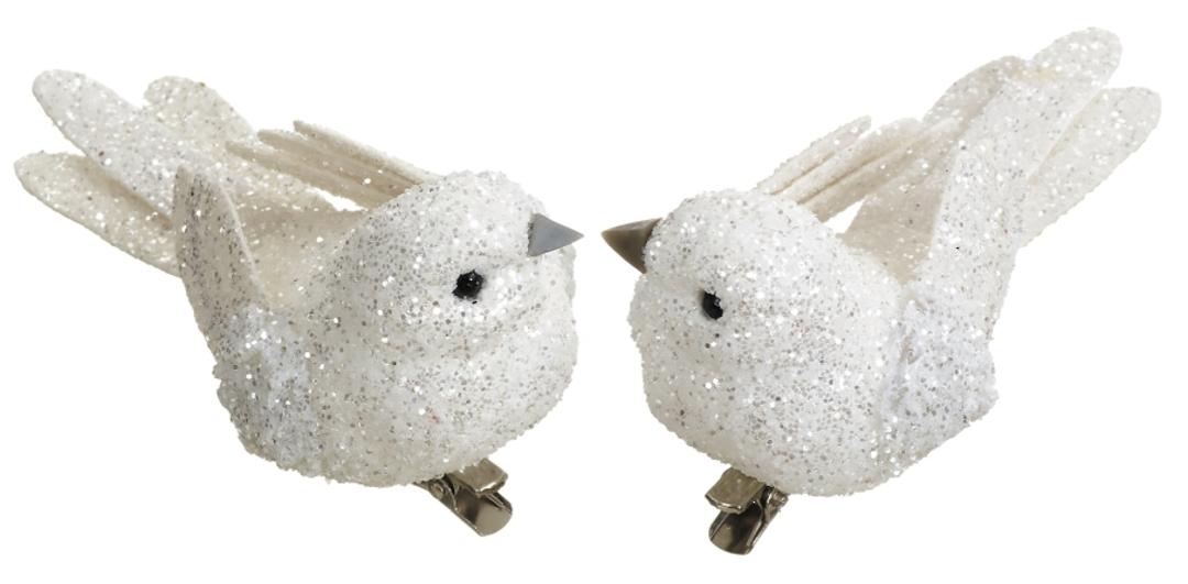 BirdClip White Glitter 10cm image 0
