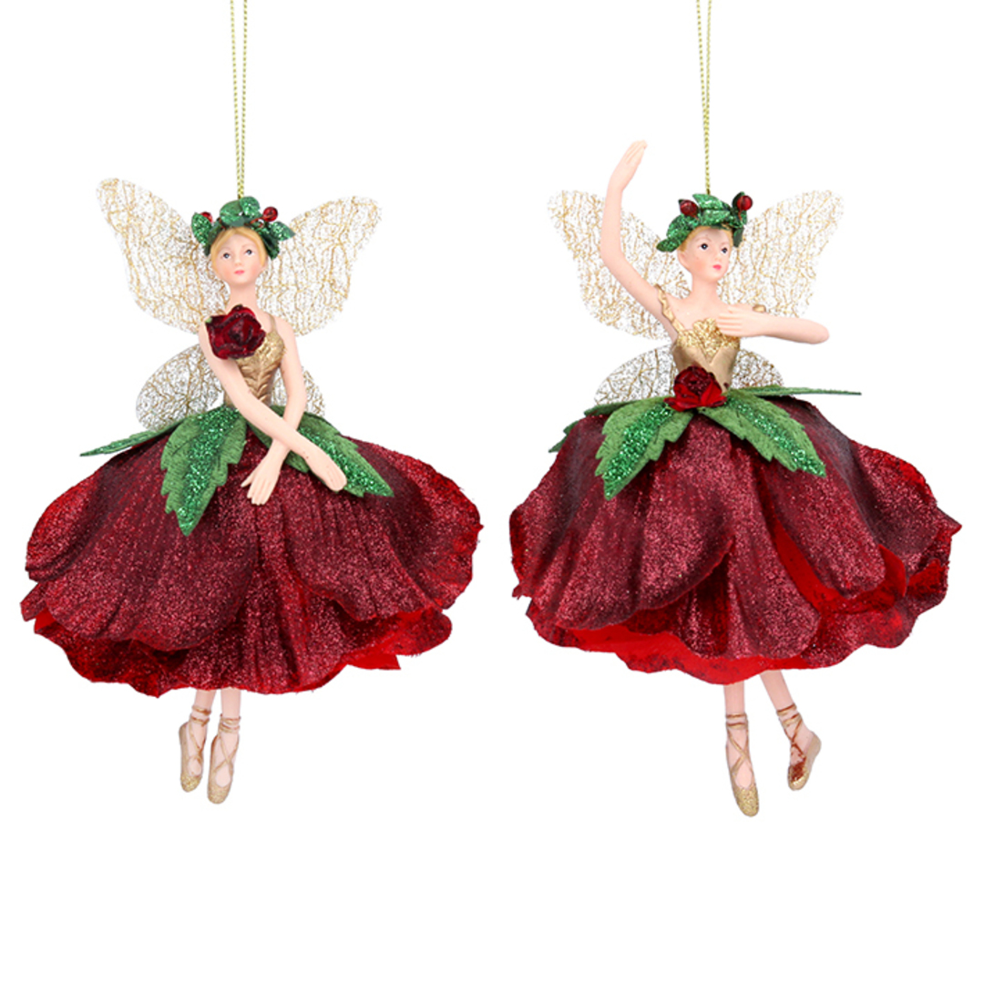 Resin Fabric Red Flower Fairy Large 17cm image 0
