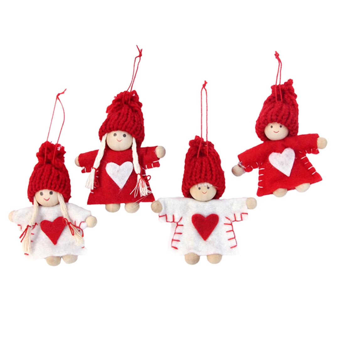 Felt Red & White Mini Children 4cm, Set 4 image 0