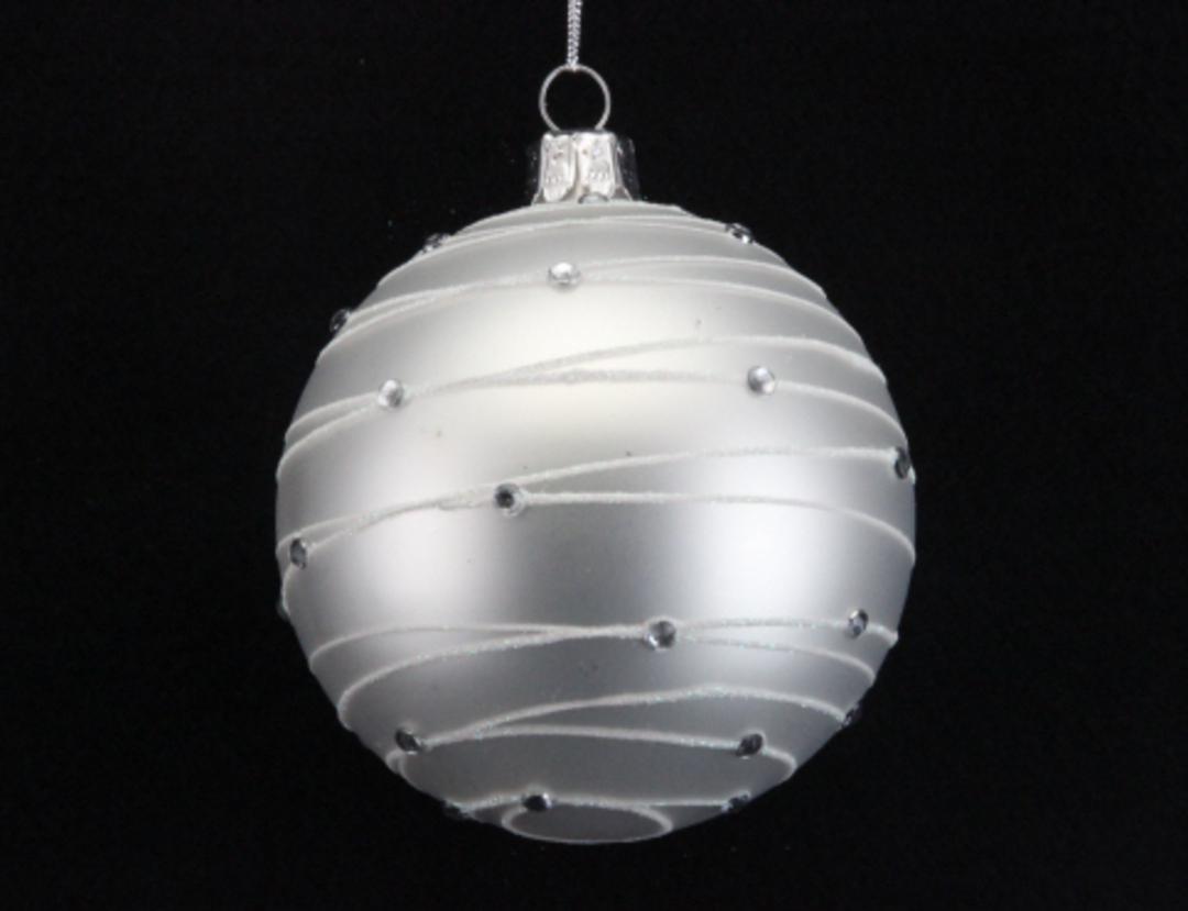 Glass Ball Matt White, Diamante Astral Bands 8cm image 0
