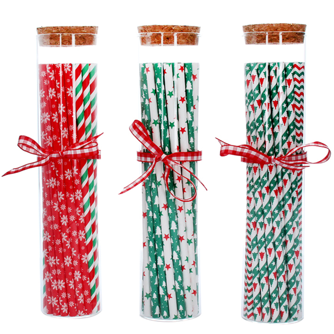 Christmas Paper Straws in Glass Jar 22cm image 0