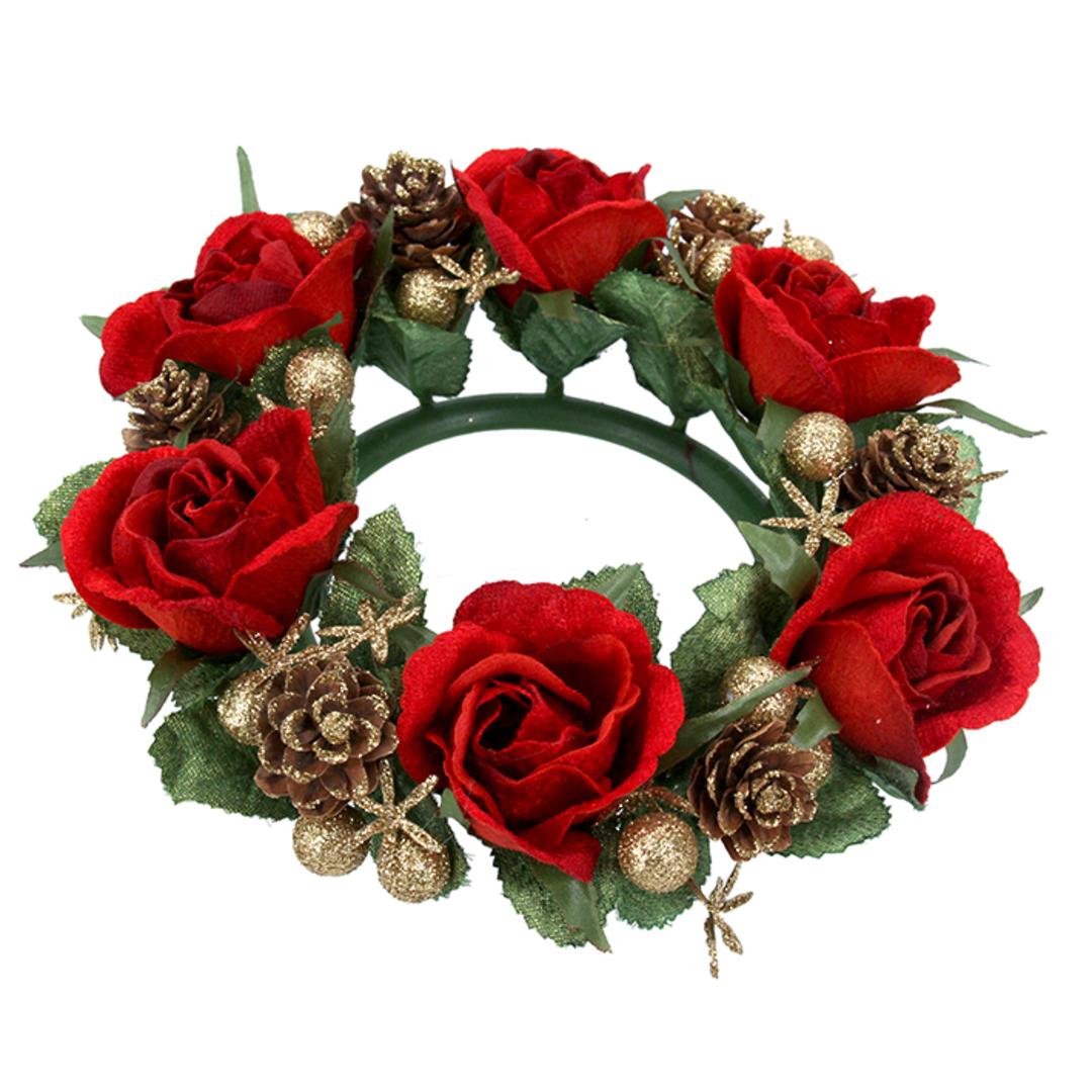 Pillar Candle Ring, Red Rose 20cm image 0