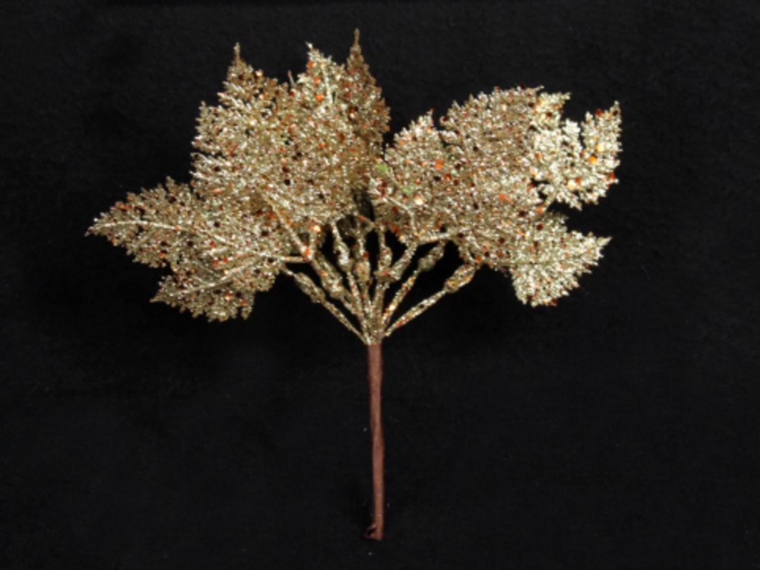 Pale Gold Glitter Leaf Pick 13cm image 0