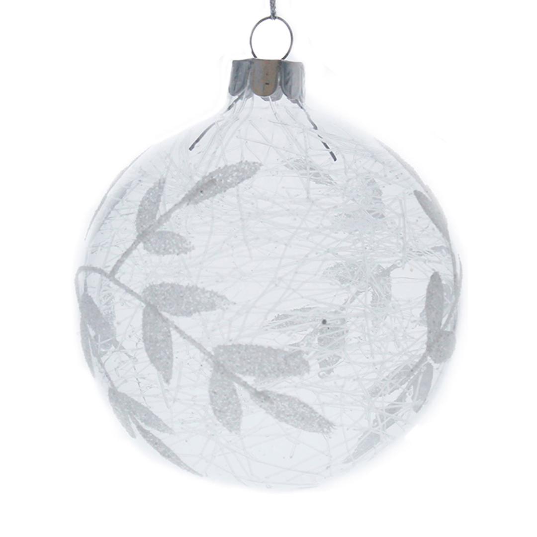 Glass Ball Clear, Silver Leaves & Shreads Inside 8cm image 0