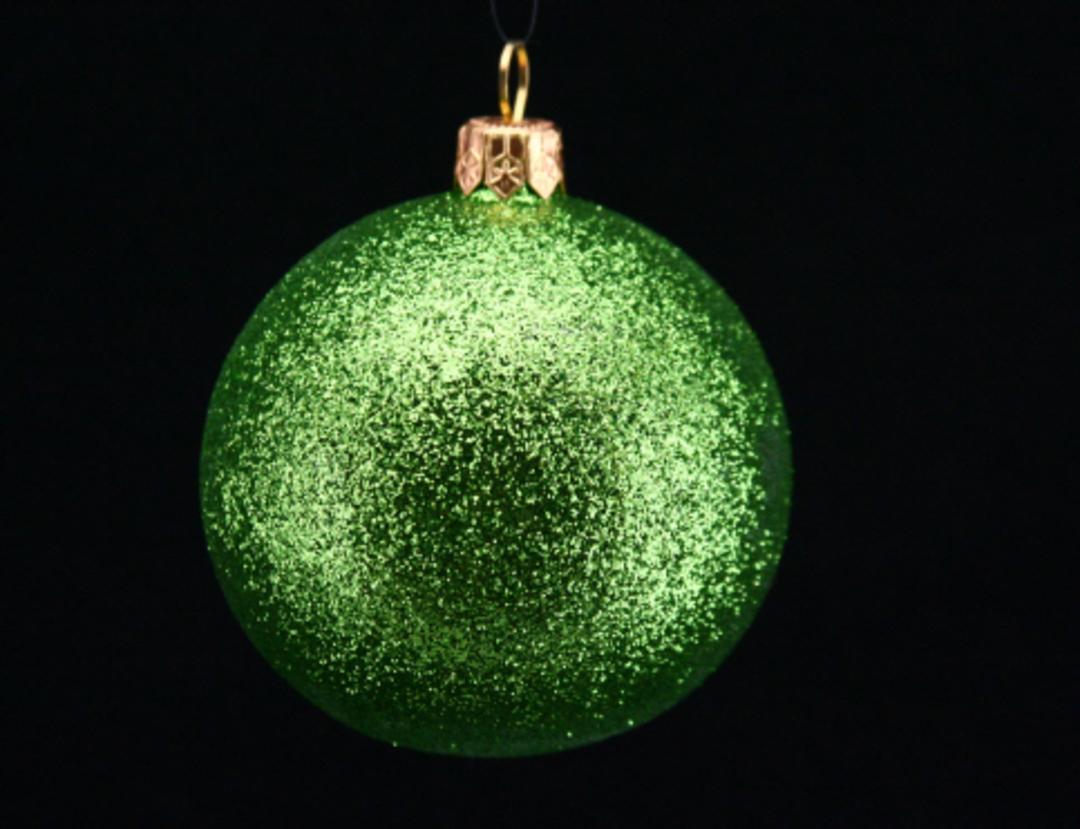 Plastic Ball Lime Glitter 7cm image 0