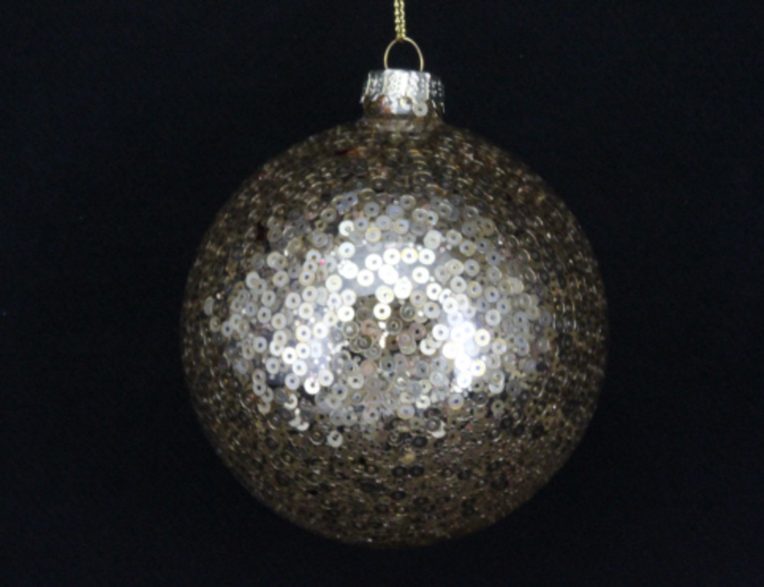 Glass Ball Clear, Gold Sequins 8cm image 0