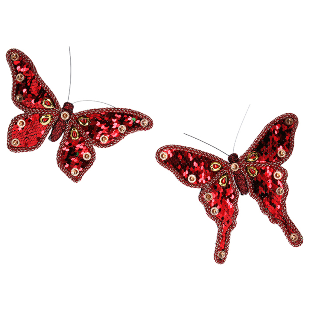 Fabric Red Sequin Butterfly Clip 17cm image 0