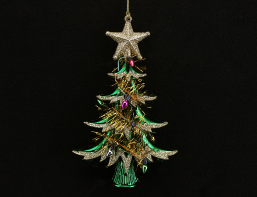 Acrylic Tinsel Tree Green and Gold 15cm image 0