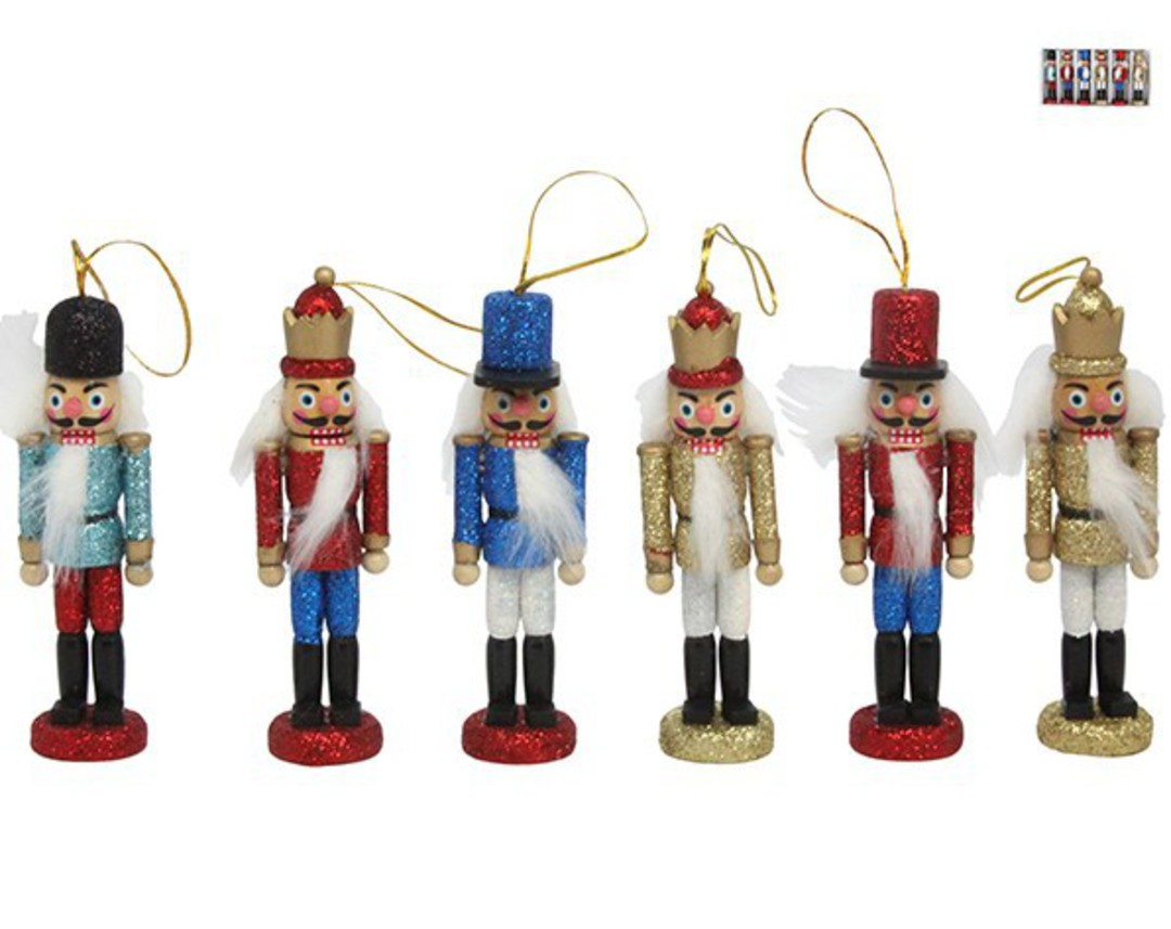 Wood Hanging Glitter Nutcracker 12cm image 0