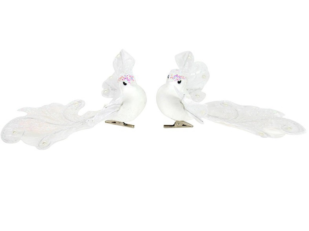 Clip, White Iridescent Bird with Filigree Wings and Tail 16cm image 0