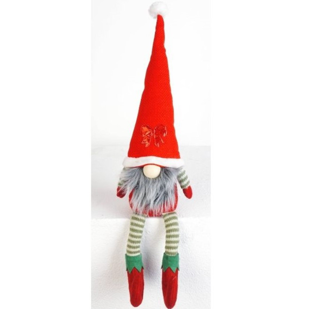 Sitting Elf Santa, Long Legs Red Hat image 0