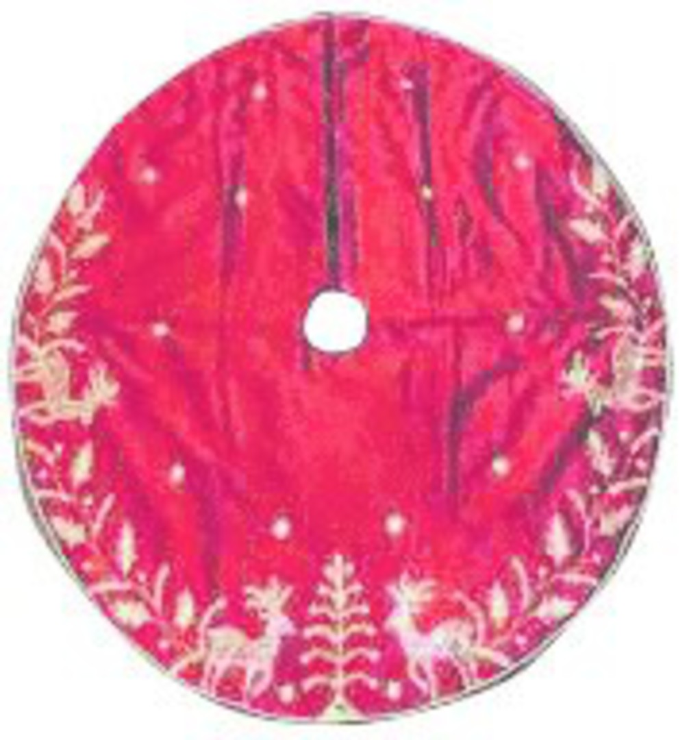 Xmas Tree Skirt, Silky Red with Gold Sequins image 0