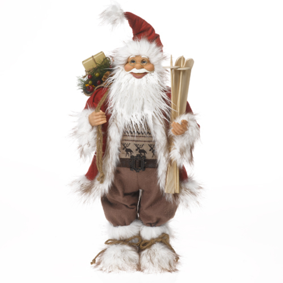 Santa Red/White/Brown Scandinavian w/Wooden Skis & Poles, LED Lights 62cm image 0