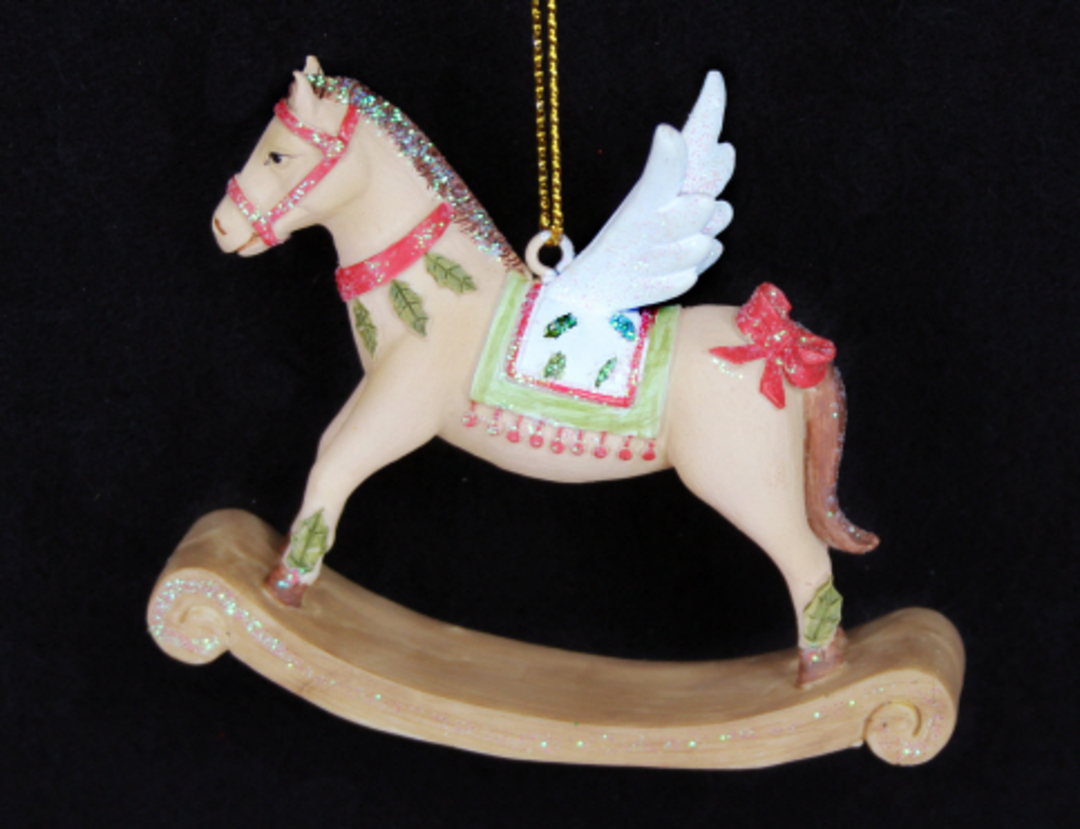 Resin Rocking Horse with Wings 7cm image 0