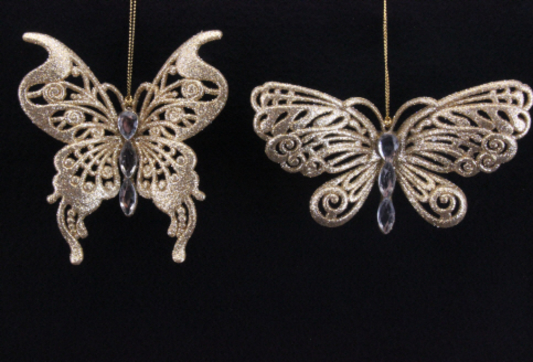 Antique Gold Glitter and Diamante Butterfly Clip image 0