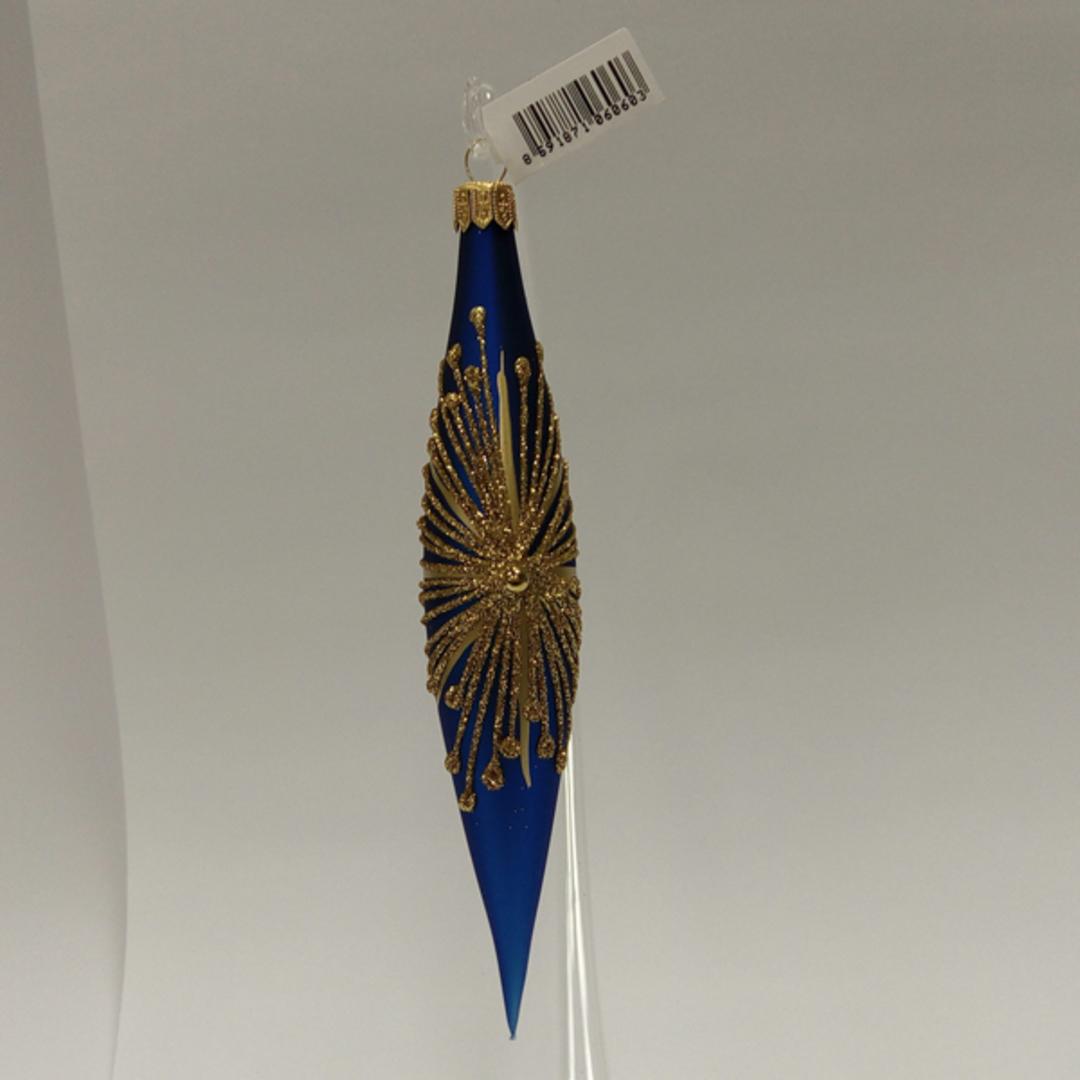 Glass Olive Metallic Blue, Gold Starburst 14cm image 0