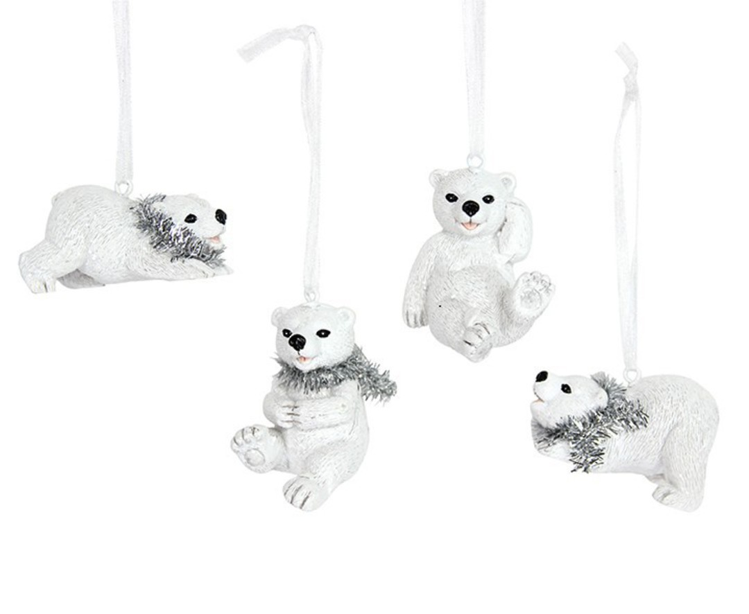 Resin Polar Bear Cub with Tinsel Scarf 5cm image 0