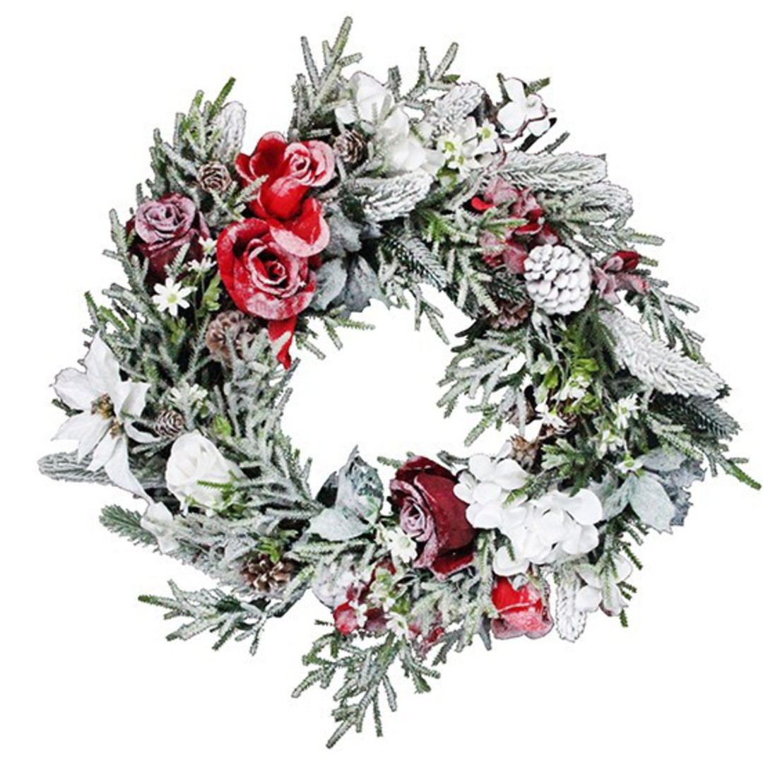 Snowy Fir Wreath with Red and White Flowers 45cm image 0