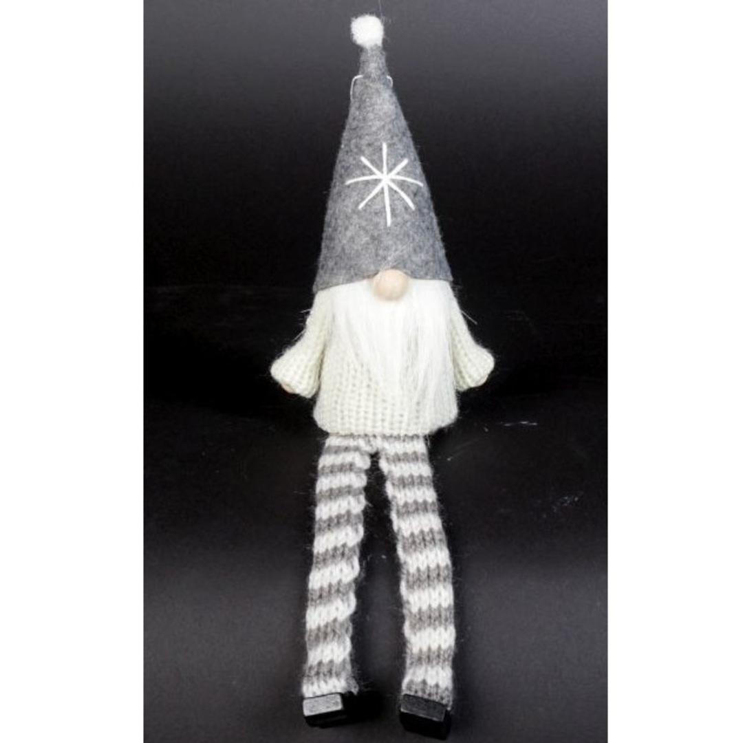 Sitting Santa White Knit Jumper, Grey Hat image 0