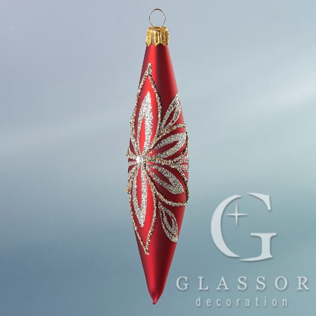 Glass Olive Red, Platinum Decor 16cm image 0