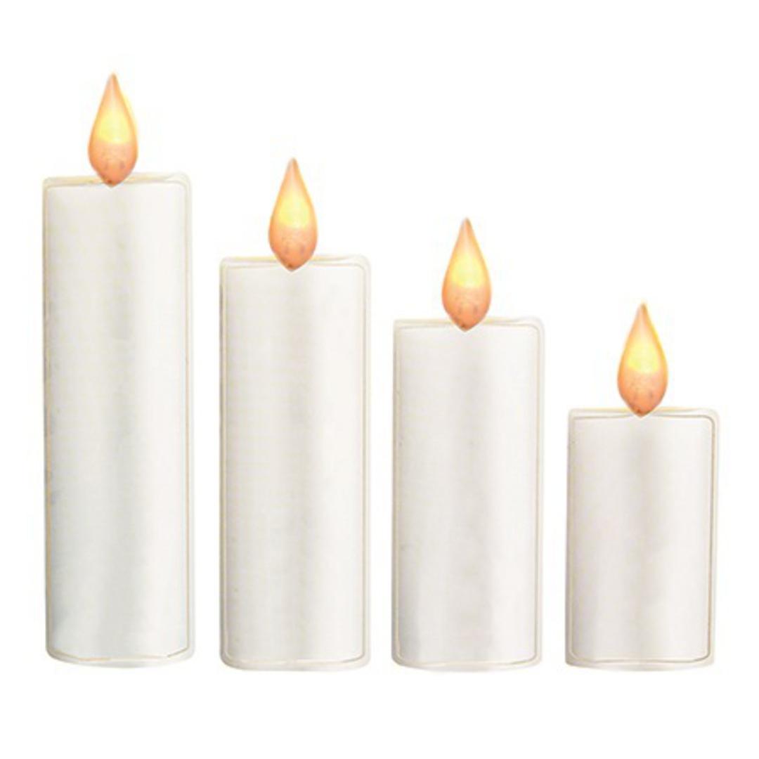 LED Flame Set Four Candle Window Sticker image 0