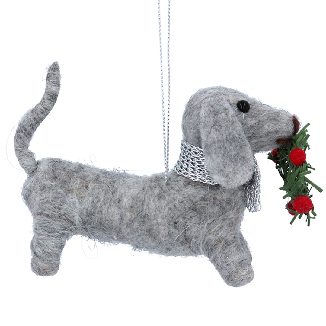 Wool Xmas Dachshund 14cm SOLD OUT image 0