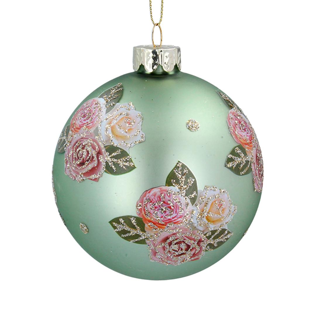 Glass Ball Matt Green, Pink Roses 8cm image 0