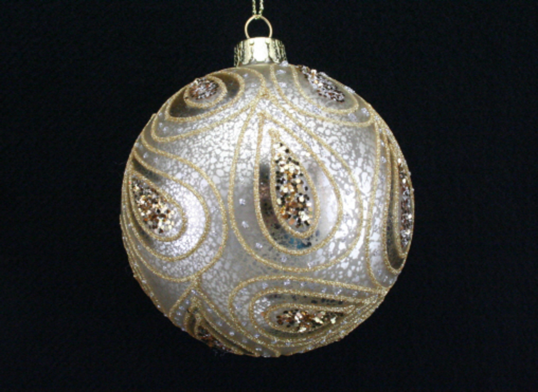 Glass Ball Antique Silver, Gold Paisley 8cm image 0