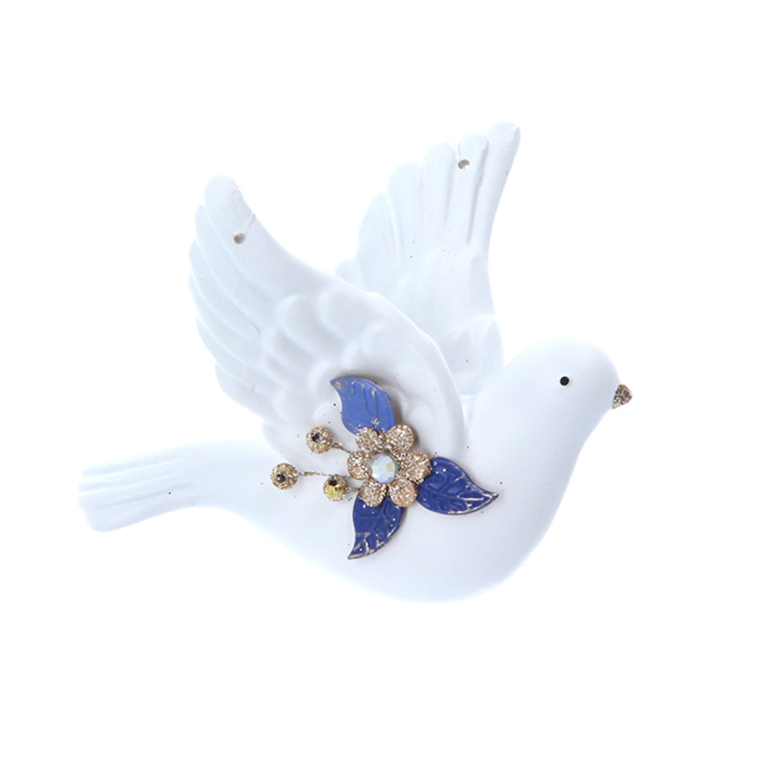 Resin White Gold Blue Flying Dove 9cm image 0