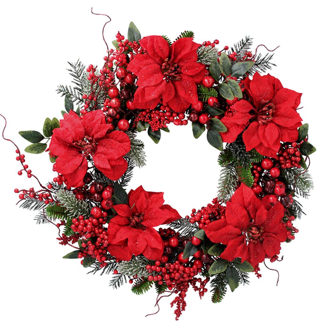 Poinsettia Wreath 60cm image 0
