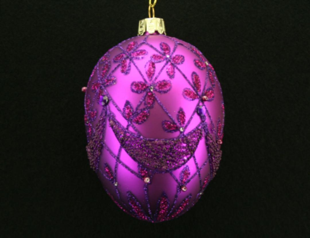 Glass Faberge Egg, Fuchsia 10cm image 0