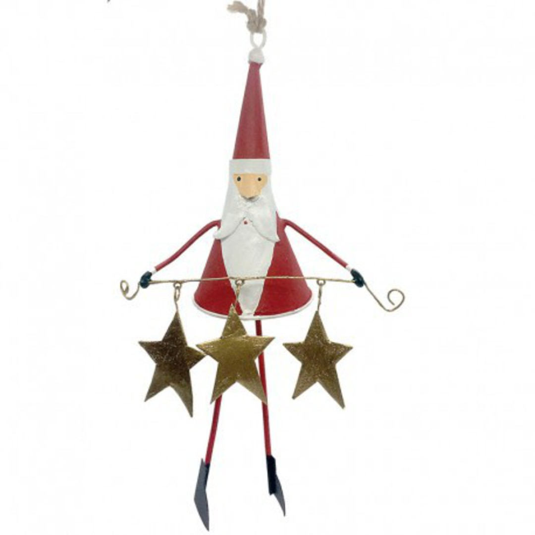 Tin Santa with Star Garland image 0