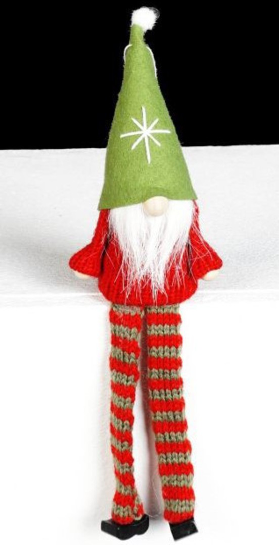 Santa Red Knit Jumper, Green Hat image 0