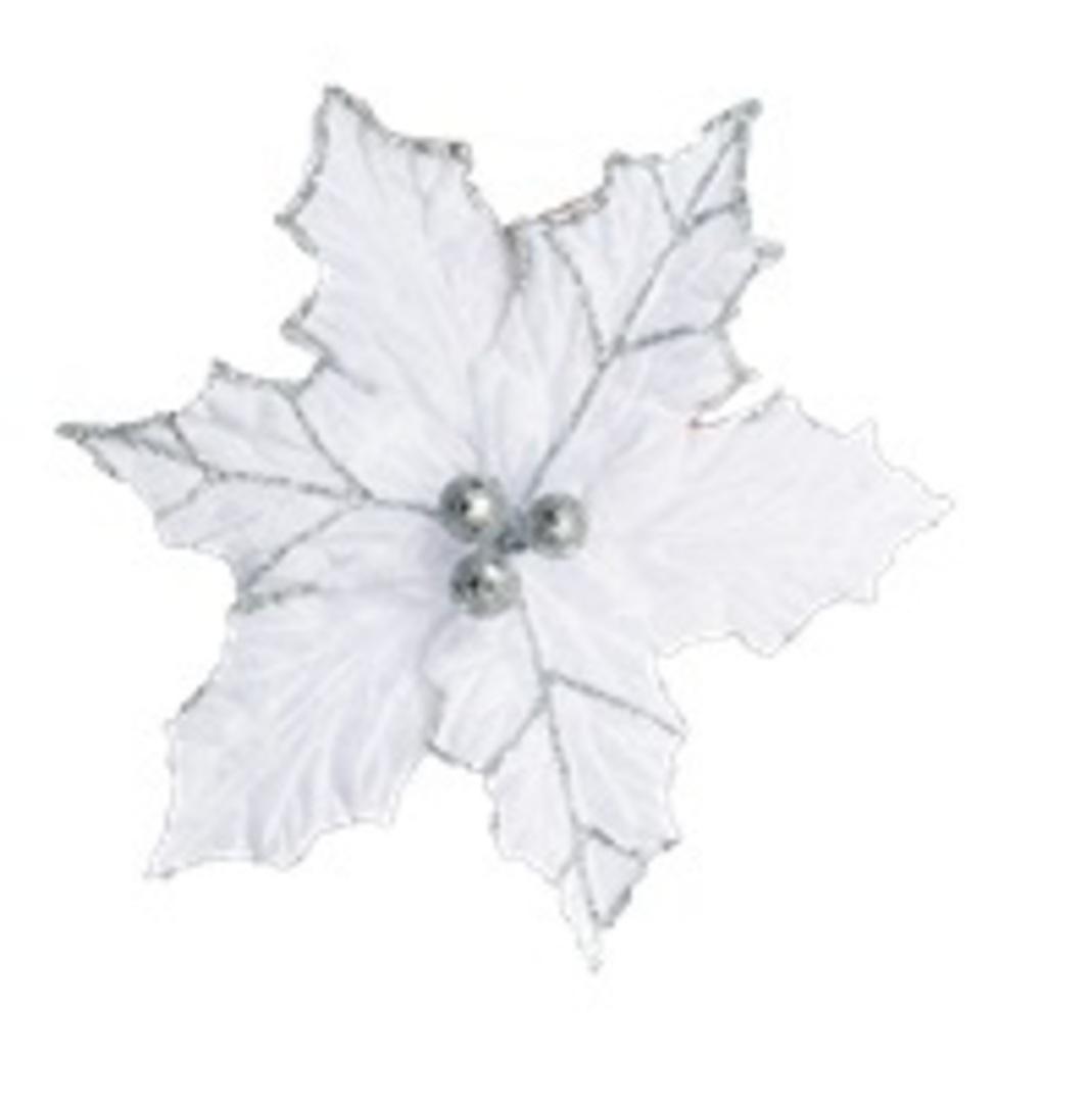 White Holly Poinsettia Clip 21cm image 0