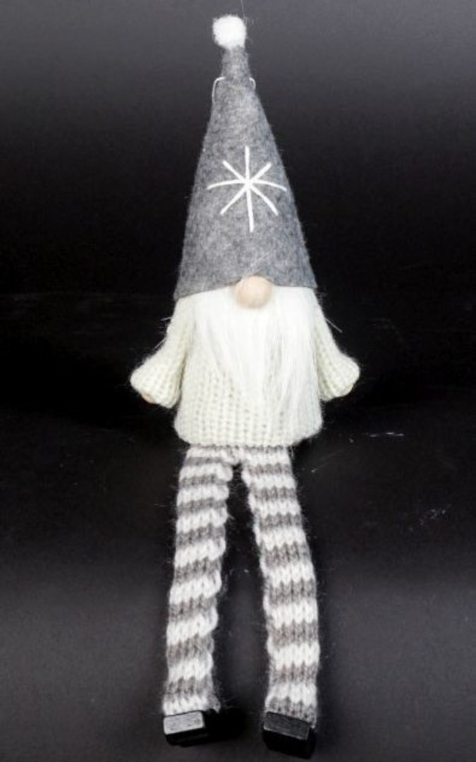 Sitting Santa White Knit Jumper, Grey Hat image 0