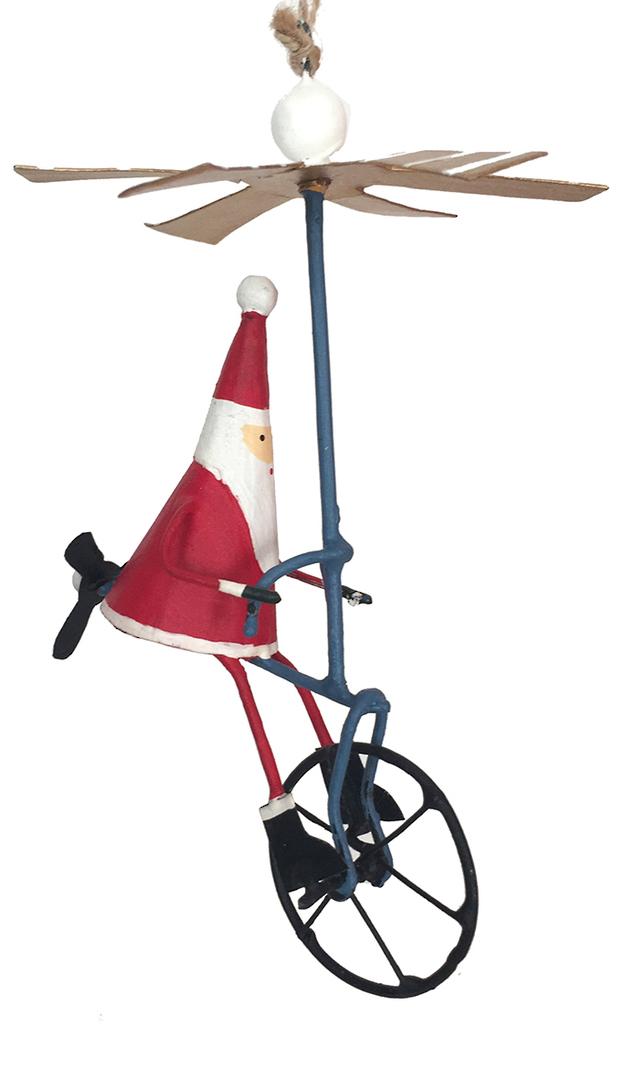 Tin Santa on Air Bike 16cm image 0