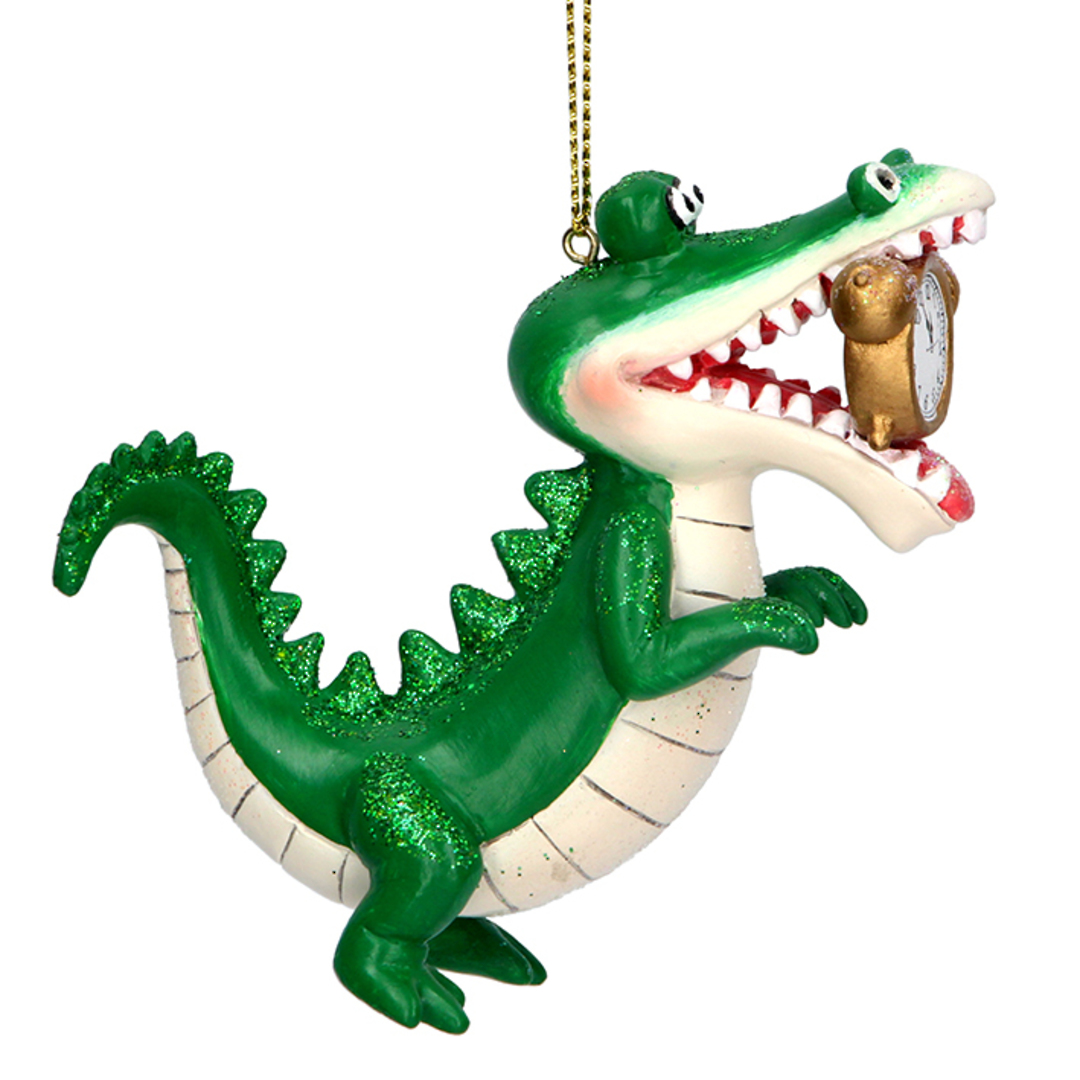 Resin Crocodile with Clock 10cm image 0
