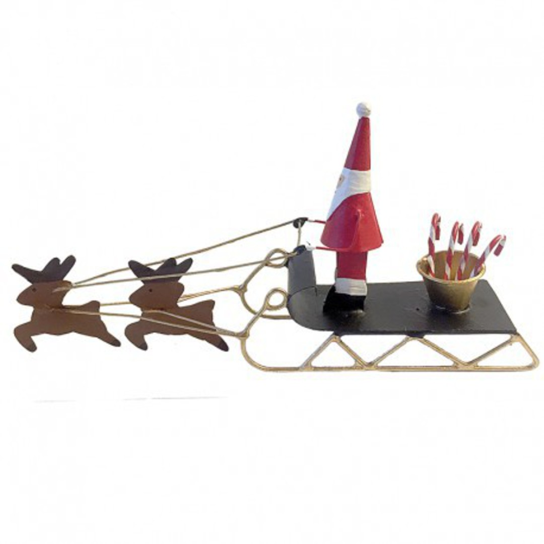 Tin Santa Sleigh with Candy Canes image 0