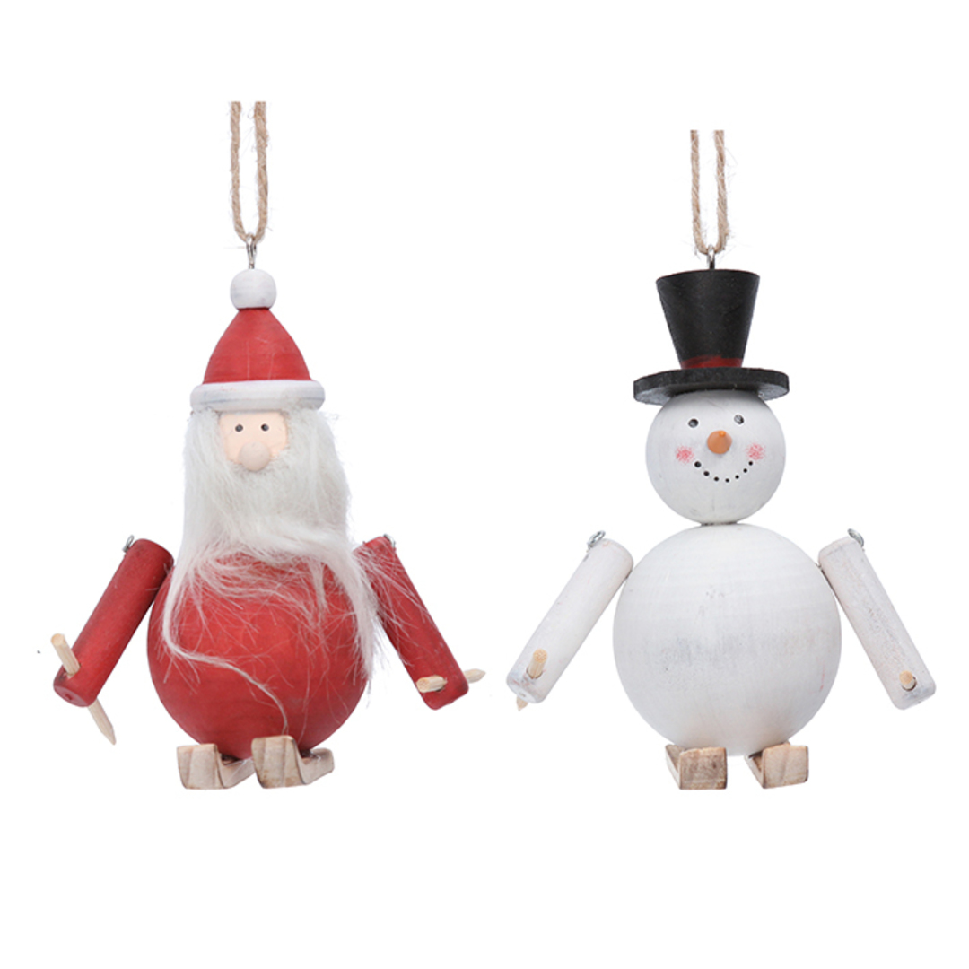 Wood Craft  Skiing Santa or Snowman 11cm image 0