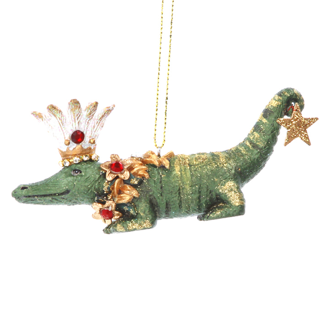 Resin Crocodile with Flower 10cm image 0