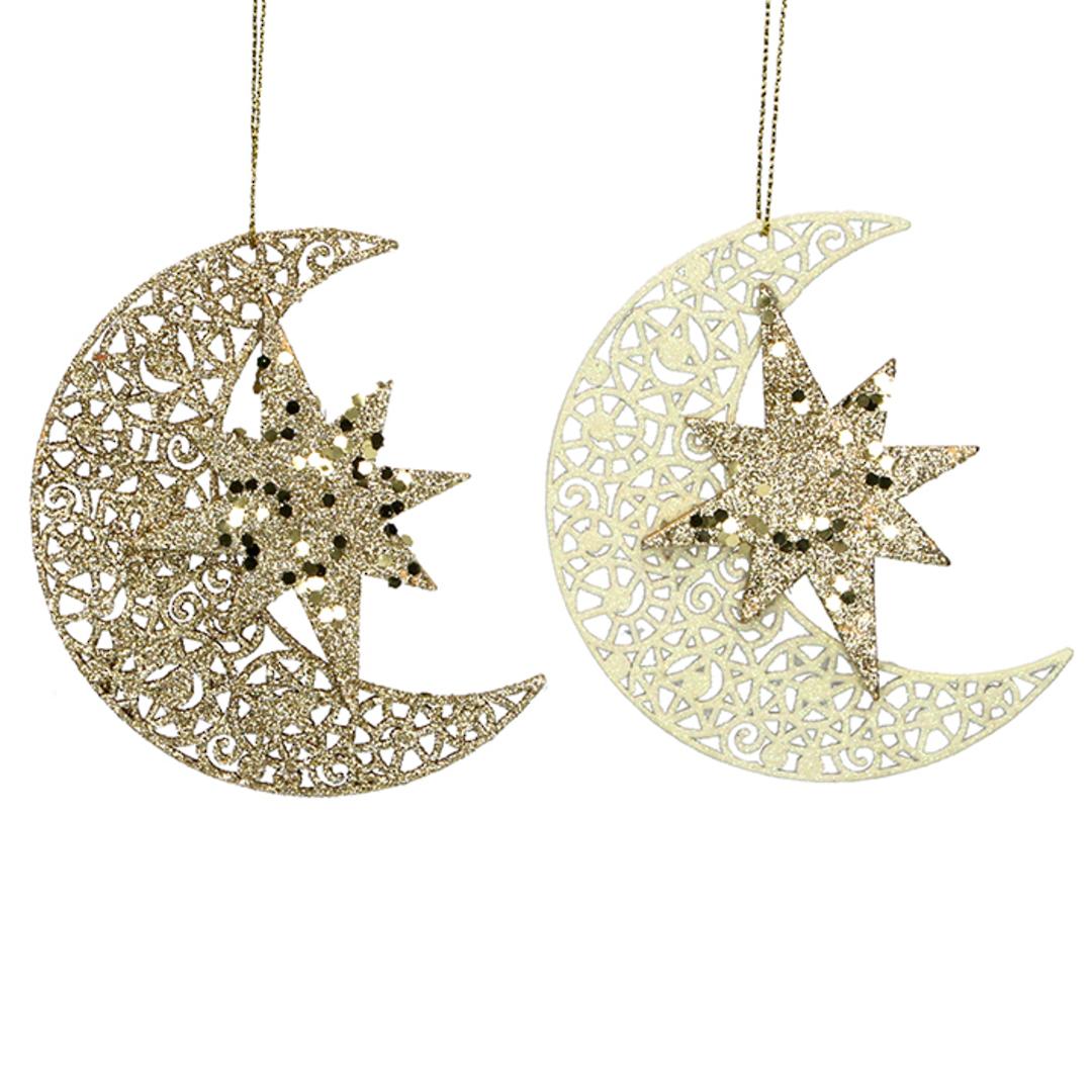 Wood Celestial Star on Moon 11cm image 0