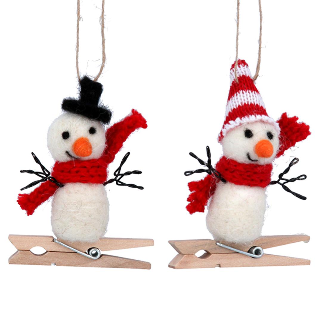 Wool Snowman Peg 8cm image 0